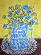 Crocheted Doily Posters - Blue Spongeware Pitcher Morning Glories Poster by Kathy Marrs Chandler