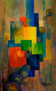 Cubism Paintings - Blue Squared by Larry Martin