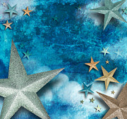 Backdrop Digital Art Originals - Blue Star Art Holiday Background by Angela Waye