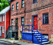 Townhouse Prints - Blue Steps Print by Debbi Granruth