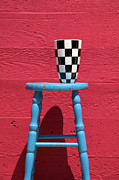 Checker Framed Prints - Blue stool Framed Print by Garry Gay