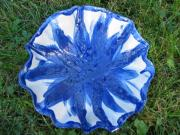 Floral Ceramics Originals - Blue sunflower vessel by Julia Van Dine