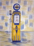 Kathy Marrs Chandler Art - Blue Sunoco Gas Pump by Kathy Marrs Chandler