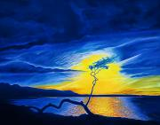 Lone Tree Painting Prints - Blue Sunset at Anaehoomalu Print by Fay Biegun - Printscapes