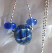 Abstract Jewelry - Blue Swirl Necklace by Janet  Telander