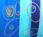 Silver Turquoise Drawings - Blue swril number five by Nina Bravo
