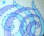 Lavender Drawings Originals - Blue swril number fourteen by Nina Bravo