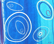 Circles Drawings Framed Prints - Blue swril number nine Framed Print by Nina Bravo