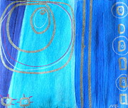 Silver Turquoise Drawings - Blue Swril Number two by Nina Bravo