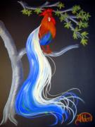 Fantasy Tree Pastels Posters - Blue Tail Fantasy Poster by Jo Hoden