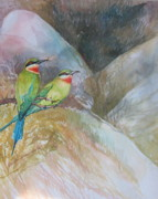 Sri Lankan Artist Paintings - Blue-tailed Bee-eater by Sasitha Weerasinghe