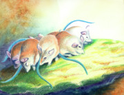 Tails Prints - Blue Tailed Society Print by Tracy L Teeter