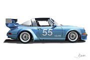 Jeff Digital Art Prints - Blue Targa Print by Alain Jamar