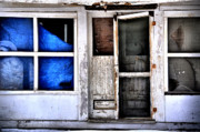Abandoned Houses Prints - Blue Tarp Print by Emily Stauring