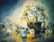 Teapot Paintings - Blue Teacup and Lemon by JoAnne Corpany