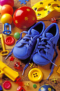 Toy Photo Framed Prints - Blue tennis shoes Framed Print by Garry Gay