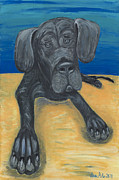 Great Painting Originals - Blue The Great Dane Pup by Ania M Milo