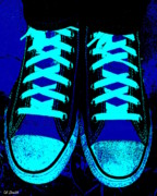 Tennis Shoes Art - Blue-tiful by Ed Smith