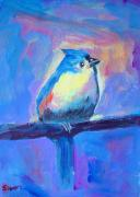 Titmouse Paintings - Blue Titmouse by Ruth Sievers