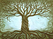 Living Room Art Prints - Blue Tree of Life Print by Renee Womack