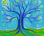 Season Art Drawings Posters - Blue Tree Sky Poster by First Star Art