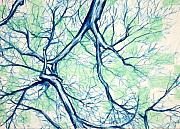 Branches Pastels Prints - Blue Tree with Green Sky Print by John Terwilliger