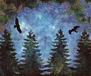 Silhouette Painting Posters - Blue Trees and Eagles Poster by Jai Johnson