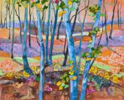 Fall Landscape Mixed Media Prints - Blue Trees Print by Marty Husted