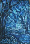 Organic Pastels Originals - Blue trees by Patricia Gomez
