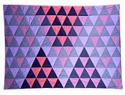 Large Tapestries - Textiles - Blue Triangles by Mildred Thibodeaux