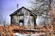 Abandoned Houses Photo Metal Prints - Blue Trim Metal Print by Emily Stauring