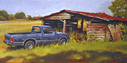 Old Farm Shed Originals - Blue Truck by Todd Baxter