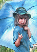 Little Girl Digital Art - Blue Umbrella by Jane Schnetlage