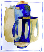 Jars Paintings - Blue Urns by Caro Hamilton