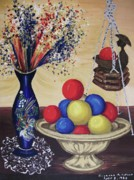 Interior Still Life Painting Metal Prints - Blue Vase and Gold Bowl Metal Print by Suzanne  Marie Leclair