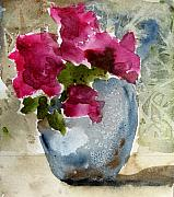 Blue Vase Metal Prints - Blue Vase Metal Print by Anne Duke