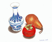 Fruit Drawings Metal Prints - Blue Vase Metal Print by Loraine LeBlanc