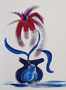 Suzanne  Marie Leclair - Blue Vase Red Flower
