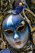 Mardi Gras Prints - Blue Venetian Mask Print by David Smith