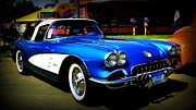 Old Car Art - Blue Vette Dreams by Perry Webster