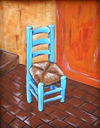 Ladderback Chair Paintings - Blue Vincent by JW DeBrock
