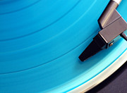 Player Posters - Blue Vinyl Record Poster by Erik T Witsoe