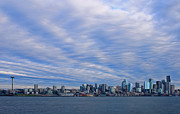 Seattle Skyline Art - Blue Vortex Morning by Dan Mihai