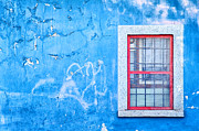 Blue Wall And Window With Red Frame Print by Silvia Ganora