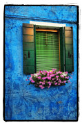 Window Framed Prints Framed Prints Pyrography Framed Prints - Blue Wall Framed Print by Mauro Celotti