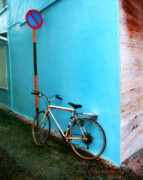 Bicycle Photos - Blue Wall by Perry Webster