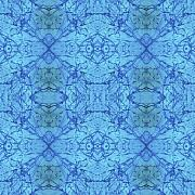 Sue Duda Digital Art Posters - Blue Water Batik Tiled Poster by Sue Duda