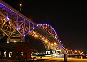 Blue Water Bridge At Night Print by Paul Bartoszek