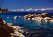 Snow Spring Prints - Blue Water Lake Tahoe Print by Vance Fox