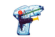 Isolated On Blue Background Framed Prints - Blue water pistol Framed Print by Richard Thomas